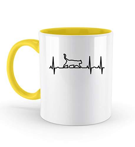 PlimPlom Katze Silhouette Tasse Katzen EKG Herzschlag Kaffeetasse - Zweifarbige Tasse -330ml-Gelb