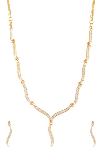 Estelle Bridal Gold Cz & American Daimond[AD] Simple Fancy Traditional Designer Artificial Necklace Jewellery Set for Wedding For Women & Girls|Stylish Modern Trendy Party wear Latest Design Haar Neckless in 1 Gram Gold Jewelry-White Stone in Long Chain.  available at amazon for Rs.1299
