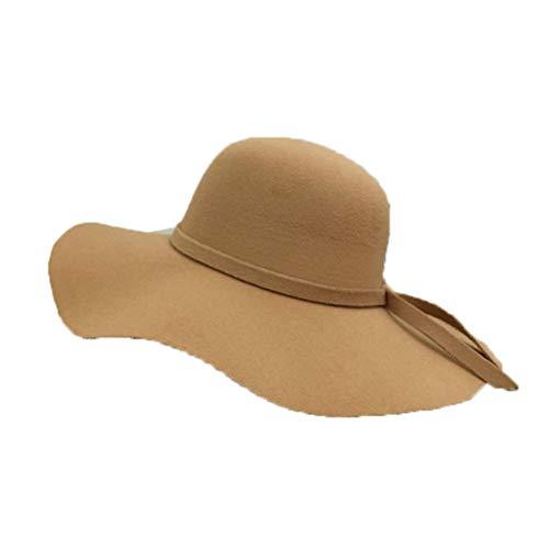 GOUNURE Vintage Wollfilz Fedora Hüte Outdoor Classic Floppy breiter Krempe Trilby Hut Jazz Cap Sonnenhut für Frauen -