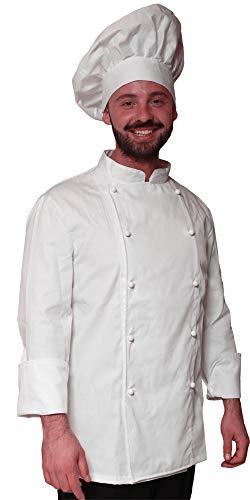 Promo - Completo Cappello e Giacca Casacca da Cuoco Chef Cotone Bianca  Classica - SPEDIZIONE 24 8d7b41ce0371