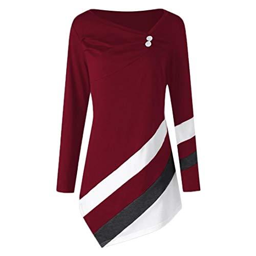 IMJONO Mode Frauen Langarm Cord Patchwork Oversize Jacke Windbreaker Mantel Frühling Herbst Winter Stilvoll Bequem Outwear(EU-38/CN-L,Wein)