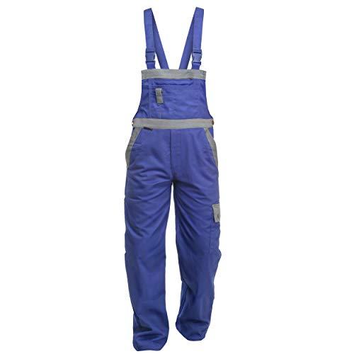 Charlie Barato L13216KG/54 Arbeitshose'Sweat Life Latzhose' für Handwerker Kornblau/grau 54