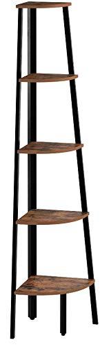 VASAGLE Eckregal, Bücherregal mit 5 Ablagen im Industrie-Design, Leiterregal mit Metallrahmen, fürs Wohnzimmer, Büro, Vintage LLS35X