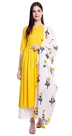Amayra Women's Rayon Kurti with Palazzos & Dupatta (Yellow)