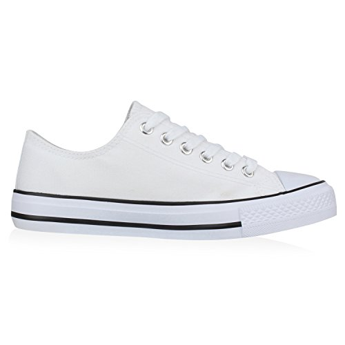 Sportliche Unisex Sneakers | Low-Top Modell | Basic Freizeit Schuhe | Stoffschuhe Weiss Bianco