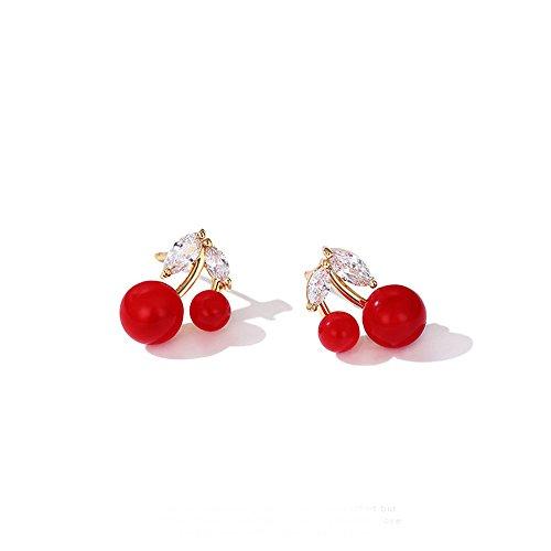 GAOQQ Red Cherry Ohrringe Temperamental Ohr Nagel Junges Mädchen Ohrringe Mini ()