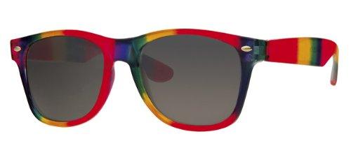 Eyewear World Sonnenbrille, Kunststoff, Regenbogenfarben, mit gelbem Halsband
