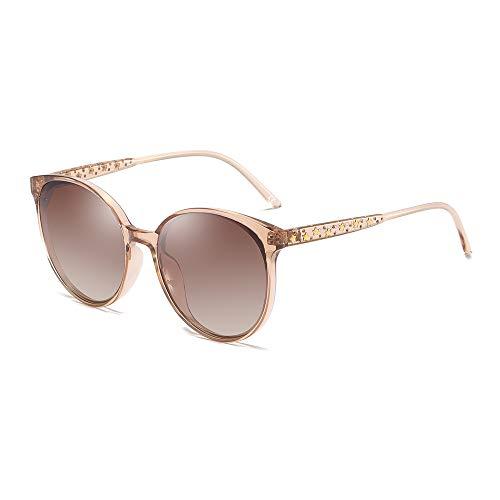 BLEVET Oversized Rund Damen Sonnenbrille Polarisierte Fahrer Brille 100% UV400 BX009 (Brown Frame Brown Lens)