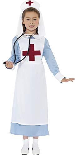 Mädchen Kostüm WW1 Krankenschwester Doktor Oberschwester WW2 Historisches Buchwoche Outfit 4-12 Jahre Größe 104 - 152 - Blau / Weiß, 104 - 116