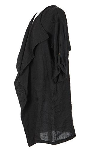 Mesdames Womens Lagenlook italienne excentrique cascade lin Plain Flap panneau veste Shrug Bolero Cardigan unique Taille Plus Noir