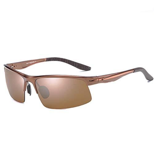 Jinxiaobei Herren Sonnenbrillen Sportliche polarisierte Sonnenbrille Halbrandlose Sport-Sonnenbrille for Herren, ideal zum Fahren oder for sportliche Aktivitäten (Color : Brown)