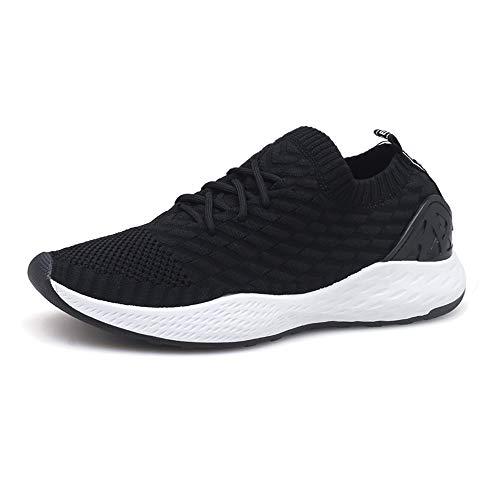 Zapatos para Correr Hombre Calcetines Zapatillas de Deportivo Slip on Sneakers de Gimnasia Jogging Low Top Calzado Knit Transpirables Fitness Blanco 39