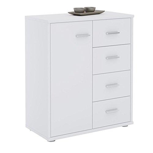 CARO-Möbel Kommode TIRANO Highboard Anrichtel mit 1 Tür und 4 Schubladen in weiß
