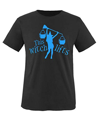 Comedy Shirts - This Witch Lifts - Halloween - Jungen T-Shirt - Schwarz/Blau Gr. 152-164