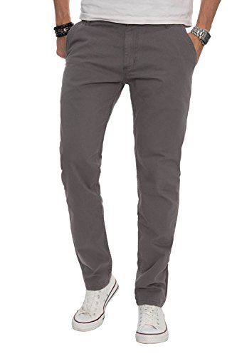A. Salvarini Herren Designer Chino Stoff Hose Chinohose Regular Fit AS016 [AS016 - Grau - W32 L30]