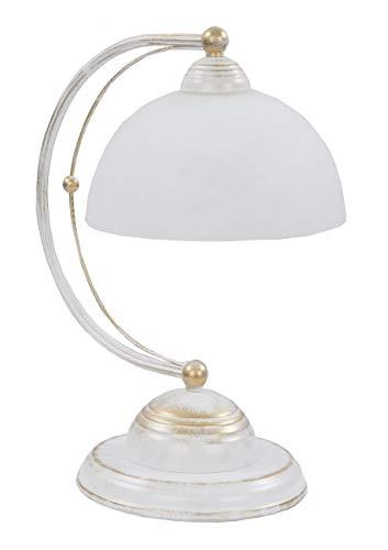 Tischlampe Landhaus, weiß, Glas, E27, leuchtenladen, Tischleuchte Leselampe Nachttischlampe