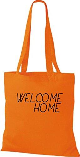 ShirtInStyle Stoff-beutel Baumwolltasche WELCOME HOME, Flüchtlinge, Bleiberecht, Farbe Olive orange