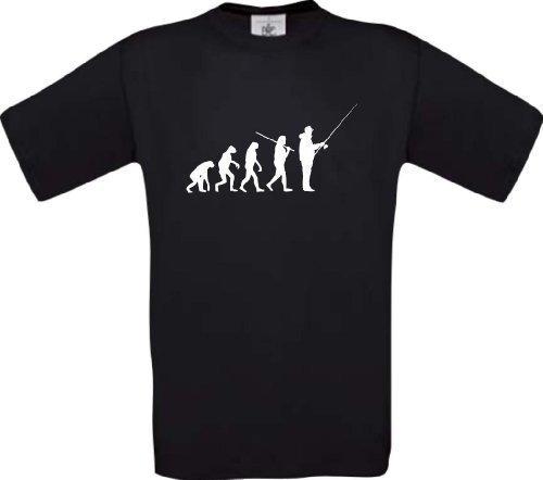 ShirtInStyle T-Shirt Evolution Angeln Fischen Fischer Fishing Hunter Evo Kultstyle, Farbe schwarz, Größe S (Evolution Ash Grey-t-shirt)