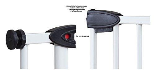 Impag Türschutzgitter Treppenschutzgitter mit Ampelfunktion 73 – 222 cm zum Klemmen Traffic Light + 30 Weiß - 4