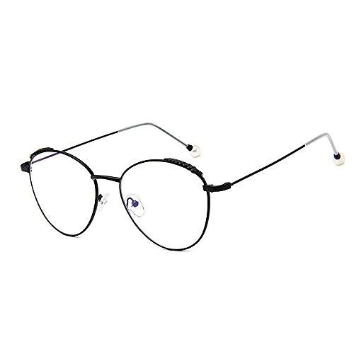 Mode Brillen Damensonnenbrillen zarte einfache Perle für Frauen klassische Damen Brillen Studenten Sonnenbrillen künstlerische dünne Metallrahmen UV-Schutz umrandeten Occhiali ( Farbe : Schwarz )