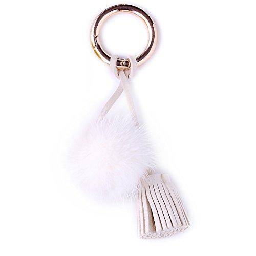 URSFUR Schöne Fell Bommel Fellkugel Anhänger Handyanhänger Plüsch Ball Schlüsselanhänger Schlüsselbund Schlüsselring – weiß