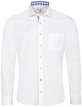 Almsach Trachtenhemd eberhard Slim Fit in Weiß und Blau Inklusive Volksfestfinder