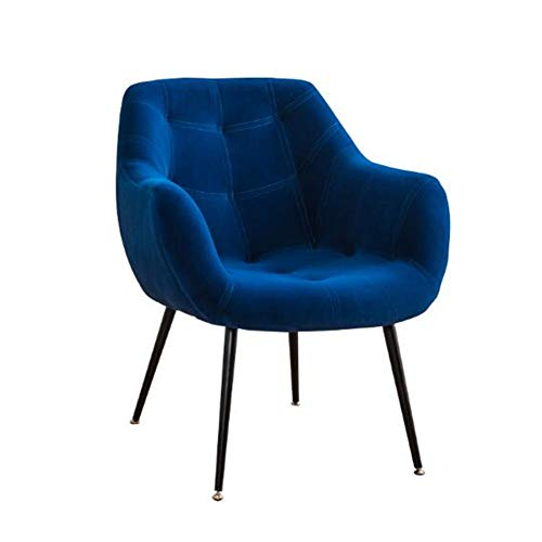 YQQ-Faules Sofa Esszimmerstuhl Mit Armlehnen Bequeme Gepolsterte Hohe Rückseite for Schlafzimmer Wohnzimmer Gelegentliche Stühle (Color : Blue) -