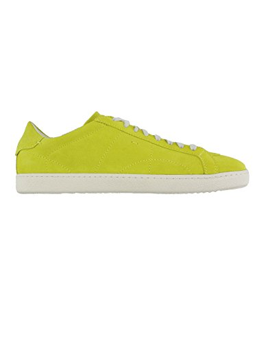 Santoni chaussures pour homme basket mode en suede MADE IN ITALY 13807B Citron Vert