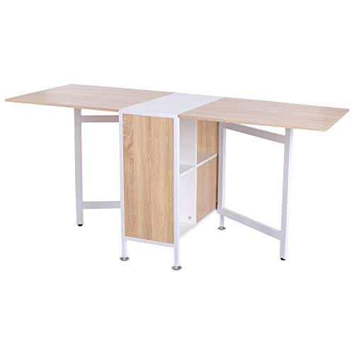 Homcom tavolo multiuso design pieghevole con 4 scompartimenti 169 × 62 × 75cm