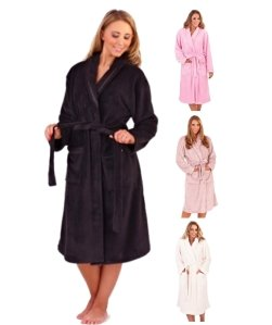 Loungeable Boutique Long Fleece Robes Womens Soft Dressing Gown
