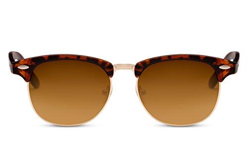 Cheapass Sonnenbrille Braun UV400 Gradient Gläser Vintage Design Leo-Print Rahmen Damen Herren