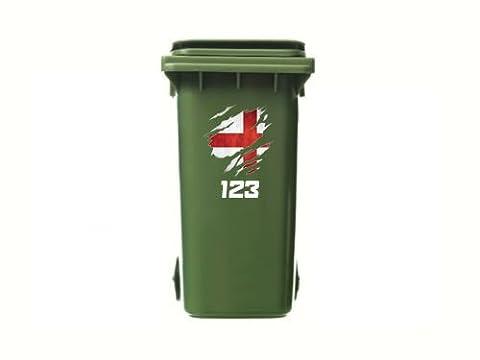 Torn Angleterre drapeau personnalisée Stickers poubelle–Numéro de maison personnalisé en vinyle pour récipients de déchets–Lot de 3