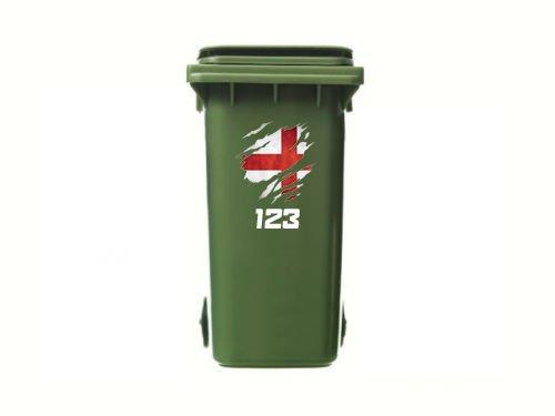 *Mülltonnenaufkleber, Motiv: verschlissene England-Flagge, personalisierbar, Vinyl, 3er-Pack*