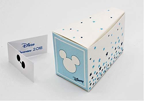 N.20 scatola bomboniera portaconfetti forma fetta torta nascita battesimo compleanno comunione completo di bigliettino mikey stars disney