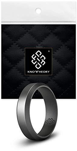 Knot Theory Silikon Hochzeitsring/Eherin für Männer und Frauen in Dunkelsilber Größe 12 6mm Ringbreite - Ideal für Reisen, Arbeit, Übungen (Arbeit übung)