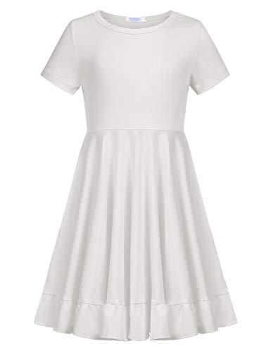 Kleid Mädchen Sommer A-Linie Kurzarm Baumwolle T-Shirt Kleider Freizeitkleidung, Weiß, 150 (Weiß Kleid Mädchen)
