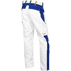 strongAnt Pantalon de Peintre, Les plâtriers Pantalon de Travail Poches pour genouillères, Fermeture éclair YKK + Bouton YKK - Made in EU - 100% Coton 260gm - Kermen Blanc/Bleu 90