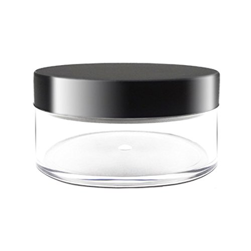 Tarro de polvo suelto plástico 50g con el recipiente cosmético vacío negro Maquillaje de tapa mate cosmético compacto