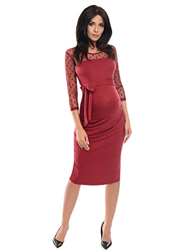 6e662561a36503 Purpless Maternity Ruched Bodycon Pregnancy Dress with Sheer Mesh Panel  D008 (8