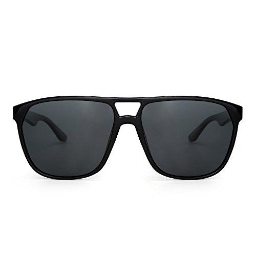 JIM HALO Polarisiert Flach Top Flieger Sonnenbrille Leicht Gewicht Gespiegelt Brille Damen Herren(Glänzend Schwarz/Polarisiertes Grau)
