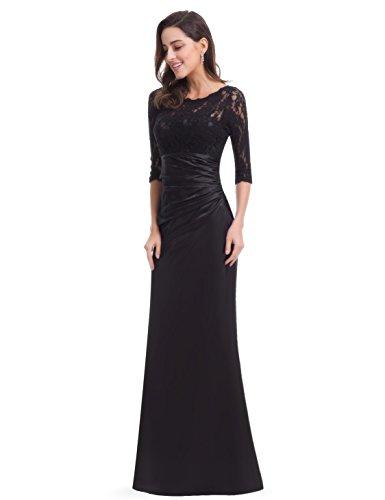Ever Pretty Damen Elegant 3/4 Arm Lace Lange Abendkleider 09882 Schwarz