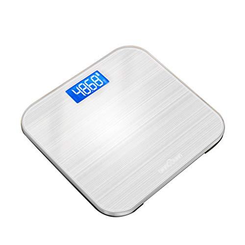 Personenwaagen Präzise Hochpräzise Digital Badwaage Haushalt Erwachsene Gewichtsverlust Elektronische Skala LCD Display Smart USB Ladeanzeige Power 28 × 28 cm 180kg Kapazität (Farbe : Silber)