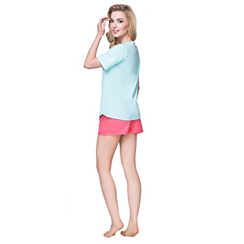 Alkato Damen Shorty Pyjama Set 2-tlg Baumwolle Sternmotiv Koralle / Seladongrün