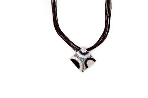 Perlkönig Kette Halskette | Damen Frauen | Silber Schwarz Blau Rot Farben | Quadratischer Anhänger | Nickelfrei (Halskette Rot Blau Und)