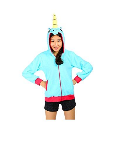 Kenmont Enfants Adulte Unisexe Animal Costume Cosplay Combinaison Licorne Pyjama Chandail Nuit Vêtements Soirée de Déguisement Bleu