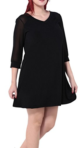 ec43b89abc0 Bigood Sexy Robe Femme Coton Tulle Grande Taille Col V Cocktail Casaul Eté  Noire Noir ...