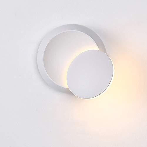 Ganeep LED Wandleuchte 360   Grad Rotation Einstellbare Nachttischlampe 4000K Schwarz Kreative Wandleuchte Schwarz Moderne Gang Runde Lampe (Color : White)