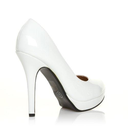 EVE Weiße Lack Leder PU Pumps Stiletto Hohe Absatz Schuhe Weiß Lack