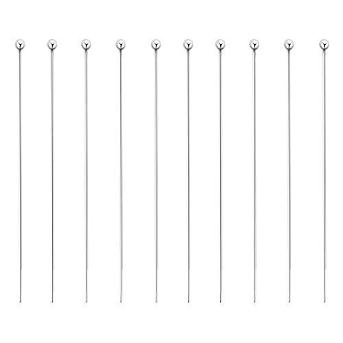 BENECREAT 20 PCS Alfiler de 925 Plata Esterlina Pin de Cabeza Redonda para Manualidad de Joyería DIY Hacer Aretes Pulseras Collares Cadenas 20x0.5mm