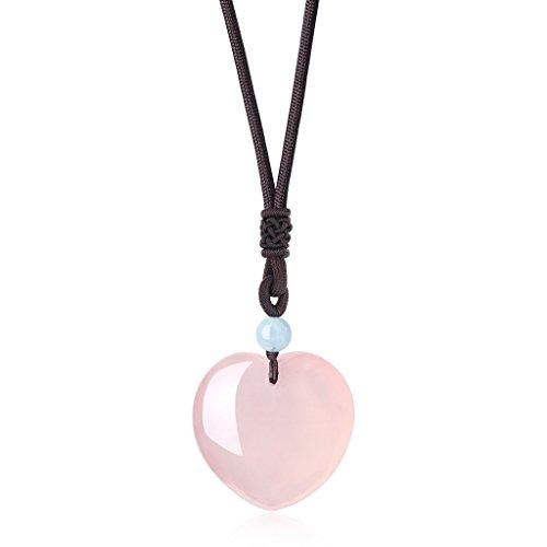 COAI Schlangenkette aus Edelstahl/Verstellbare Nylonschnur mit Herzanhänger aus Rosenquarz Aquamarin Halskette für Damen